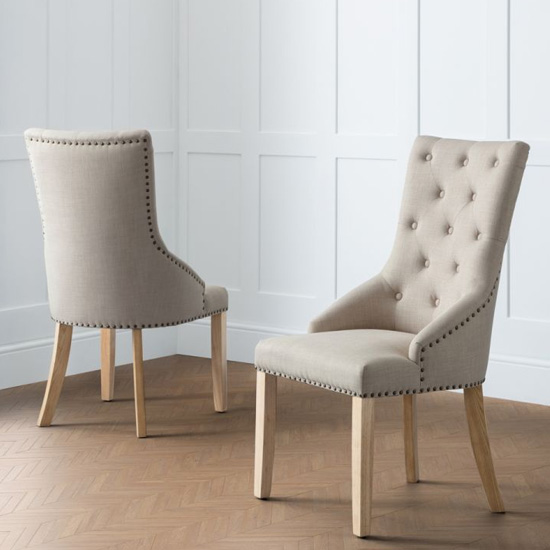 Loire Button Back Oatmeal Linen Dining Chairs In Pair