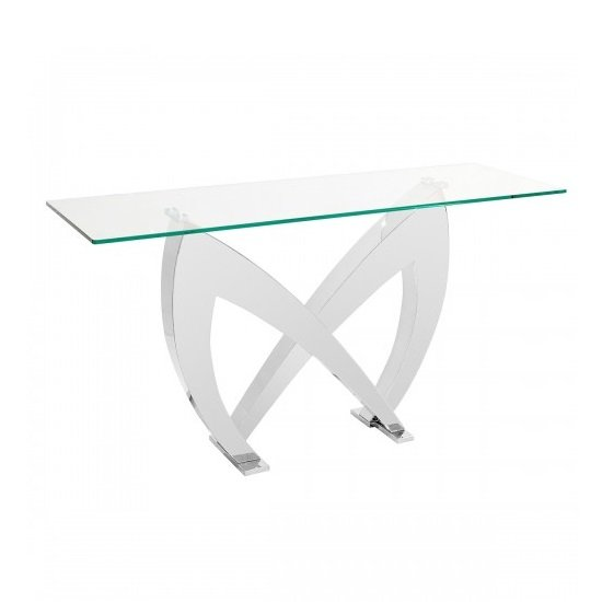 Loire Glass Console Table In Clear With Stainless Steel Base