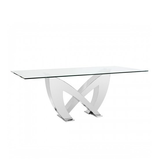 Loire Glass Dining Table In Clear With Stainless Steel Base