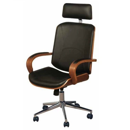 Loire Office Chair In Black Faux Leather With Walnut Frame 1