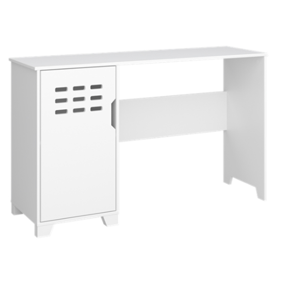 View Loke wooden laptop desk in pure white with 1 door