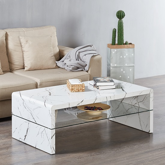 Lola Coffee Table Rectangular In Glossy White Marble