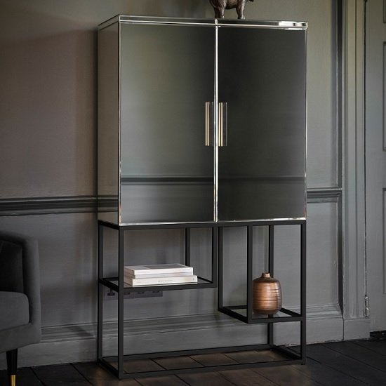 Lombok Mirrored Contemporary Bar Cabinet In Black With 2 Doors