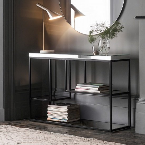 Lombok Mirrored Rectangular Console Table With Matt Black Frame