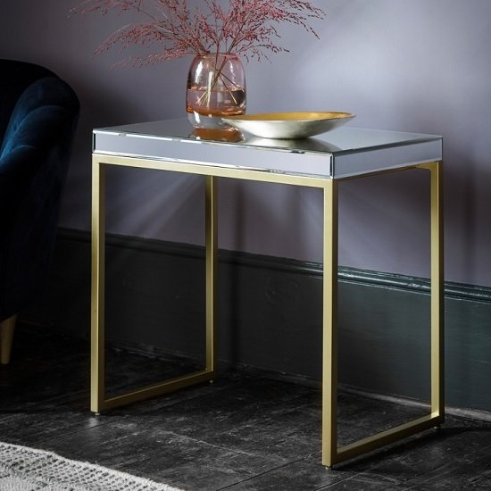 Lombok Mirrored Side Table With Champagne Metal Frame