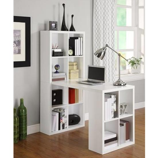 London Wooden Laptop Desk In White With Shelving Unit