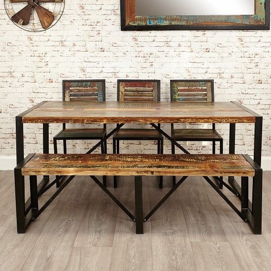 London Urban Chic Wooden Dining Table With Steel Base_2