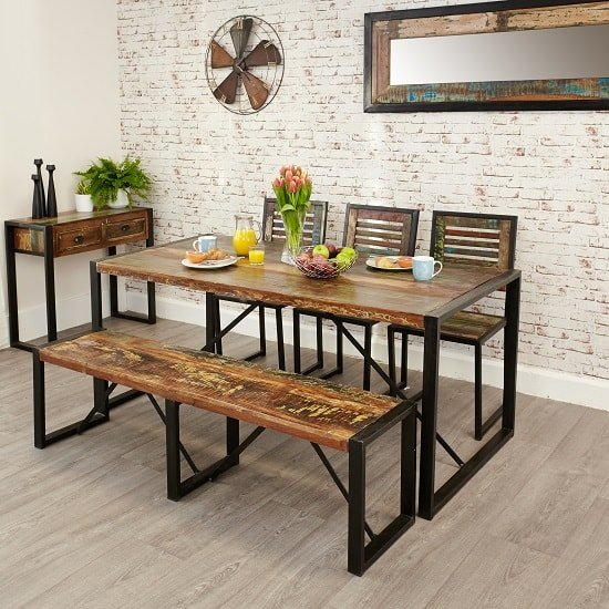 London Urban Chic Wooden Large Dining Bench With Steel