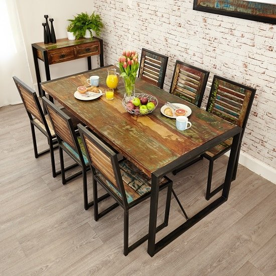 London urban chic wooden dining table with steel base 32158 for Dining room tables london