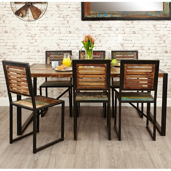 London Urban Chic Wooden Dining Table With Steel Base_5