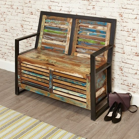 London Urban Chic Wooden Shoe Storage Bench With Steel Frame_1
