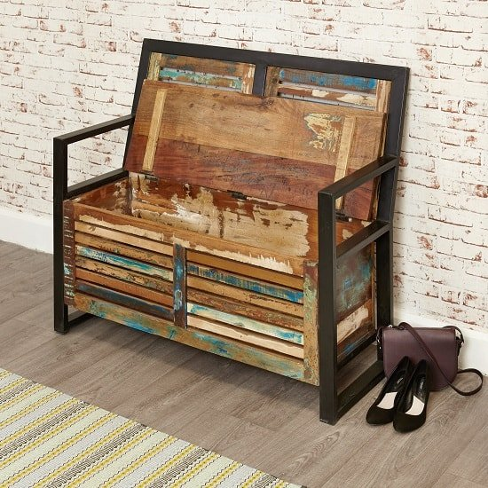 London Urban Chic Wooden Shoe Storage Bench With Steel Frame_4