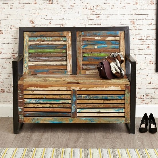 London Urban Chic Wooden Shoe Storage Bench With Steel Frame_3