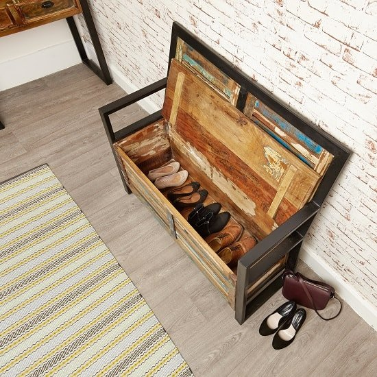 London Urban Chic Wooden Shoe Storage Bench With Steel Frame_2