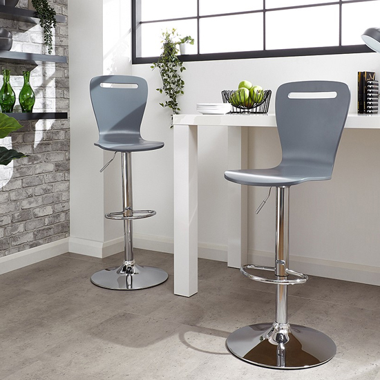 Long Island Grey Wooden Gas-lift Bar Stools In Pair