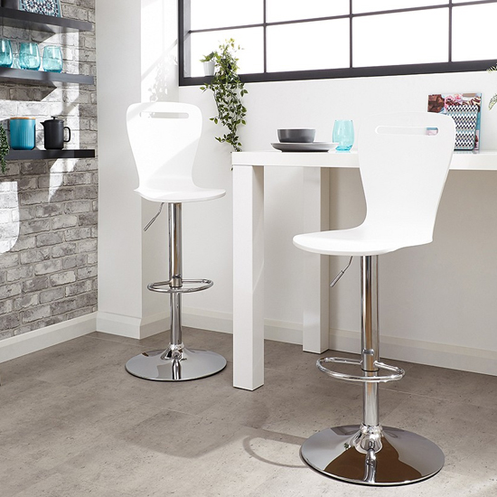 Long Island White Wooden Gas-lift Bar Stools In Pair