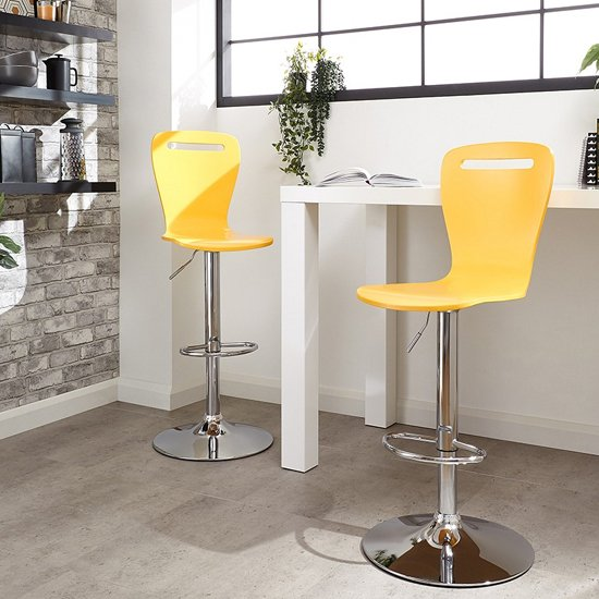 Long Island Yellow Wooden Gas-lift Bar Stools In Pair_1