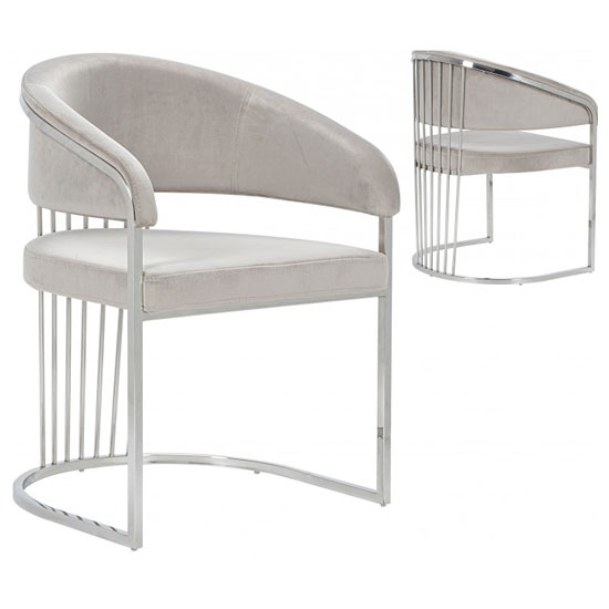 Longi Beige Velvet Dining Chair In Pair With Silver Legs