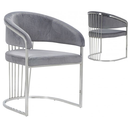 Longi Grey Velvet Dining Chair In Pair With Silver Legs