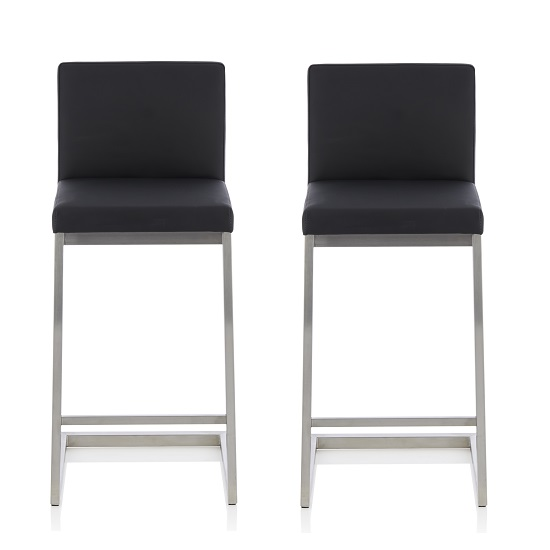 Prime Longwell Modern Bar Stool In Black Faux Leather In A Pair Squirreltailoven Fun Painted Chair Ideas Images Squirreltailovenorg