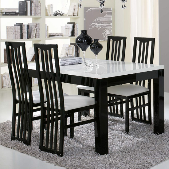 Lorenz Gloss Black And White Dining Table 6 Black Cexa Chairs