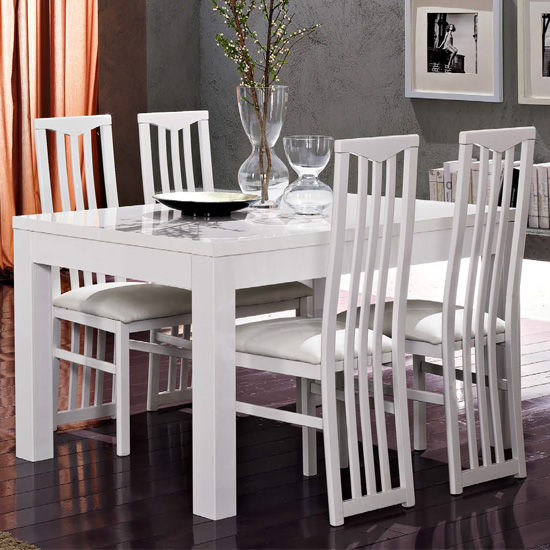 Lorenz Dining Table In Gloss White With 4 White Cexa Chairs