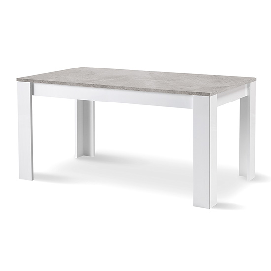Lorenz Dining Table In Gloss White And Grey Marble Effect_1