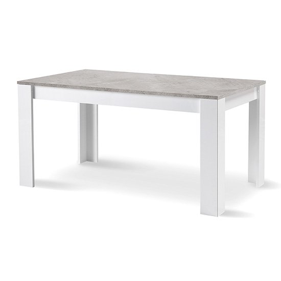 Lorenz Large Dining Table In Gloss White And Grey Marble Effect