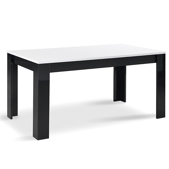Lorenz Large Wooden Dining Table In Black And White Gloss