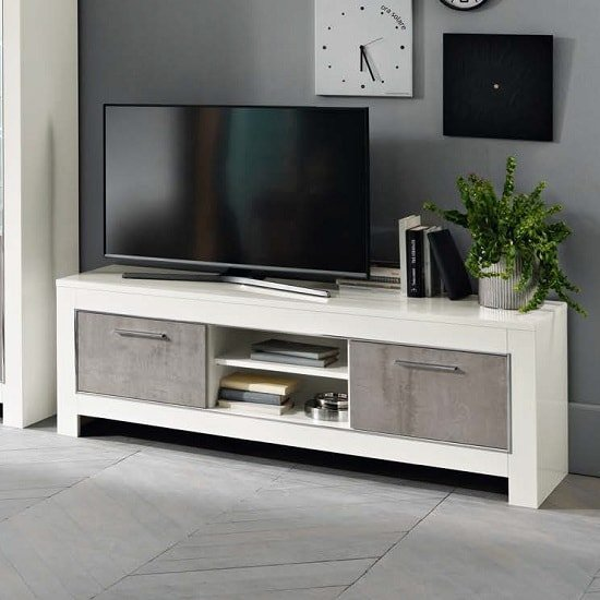 Lorenz Medium TV Stand In Marble Effect And White High Gloss