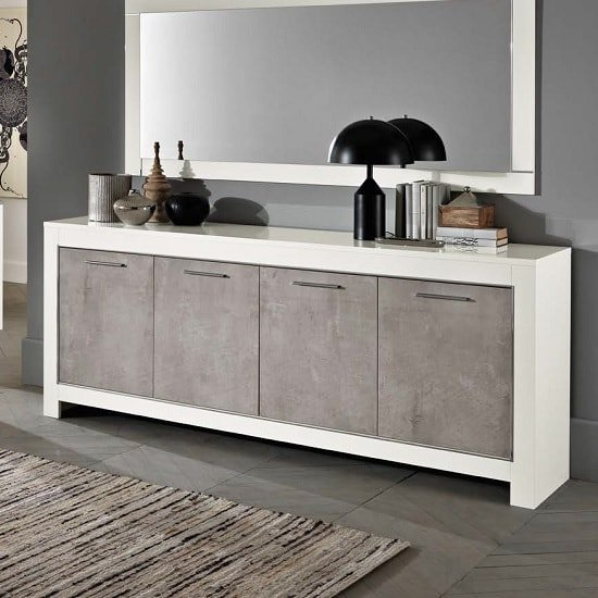 Lorenz Large Sideboard In Marble And White High Gloss