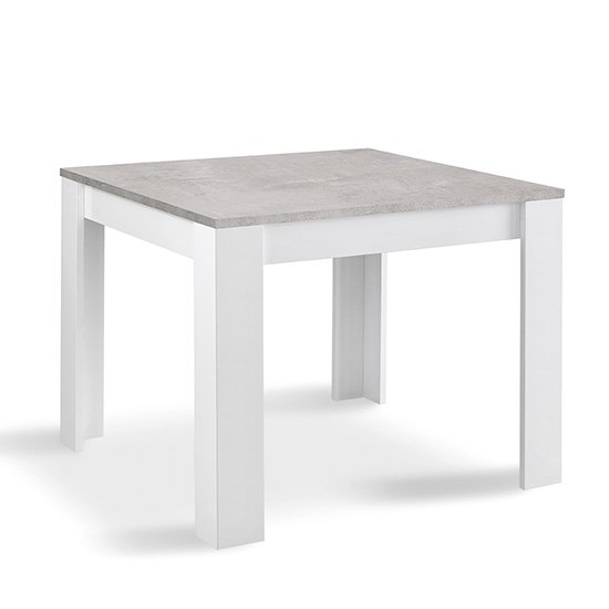 Lorenz Square Dining Table In Gloss White And Grey Marble Effect