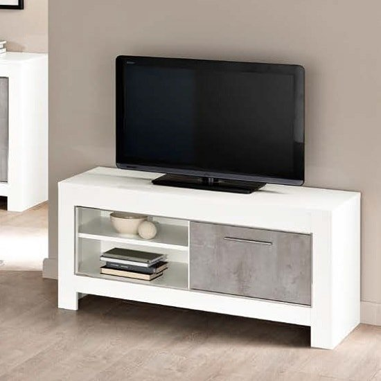 Lorenz Small TV Stand In Marble Effect And White High Gloss