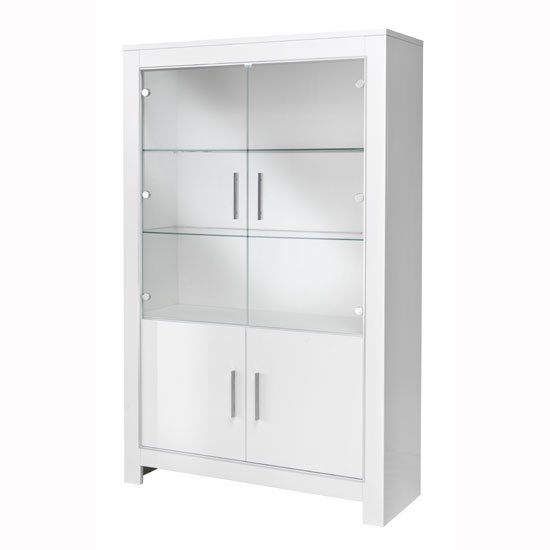 Lorenz Wide Glass Display Cabinet In White High Gloss With LED