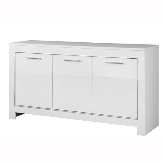 Lorenz Sideboard In White High Gloss With 3 Doors