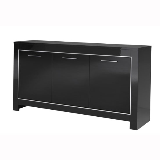 Lorenz Sideboard In Black High Gloss With 3 Doors_3