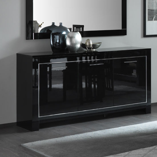 Lorenz Sideboard In Black High Gloss With 3 Doors_1
