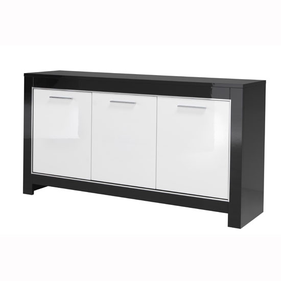 Lorenz Sideboard In Black And White High Gloss With 3 Doors_2