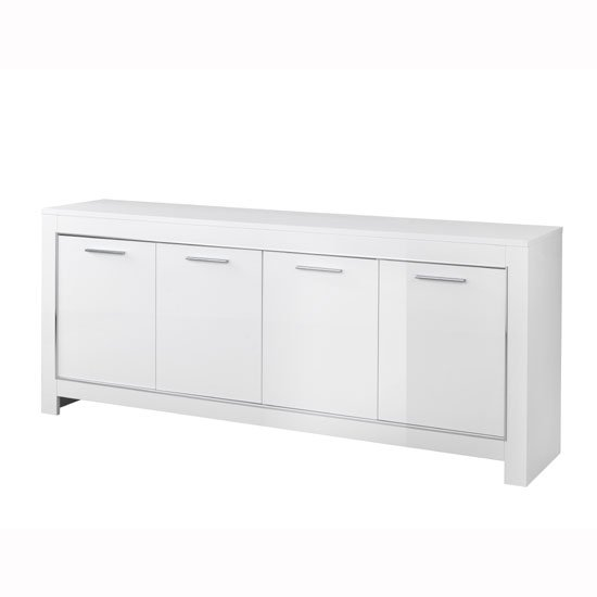 Lorenz Modern Sideboard In White High Gloss With 4 Doors