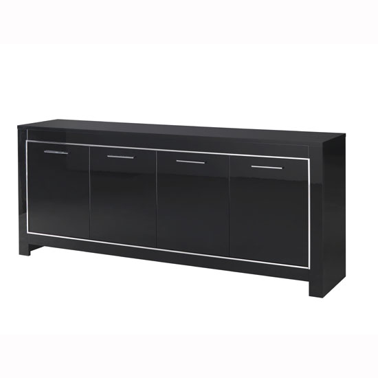 Lorenz Large Sideboard In Black High Gloss With 4 Doors_3