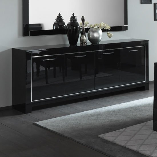Lorenz Large Sideboard In Black High Gloss With 4 Doors