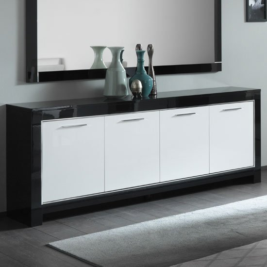 Lorenz Large Sideboard In Black And White High Gloss With 4 Door