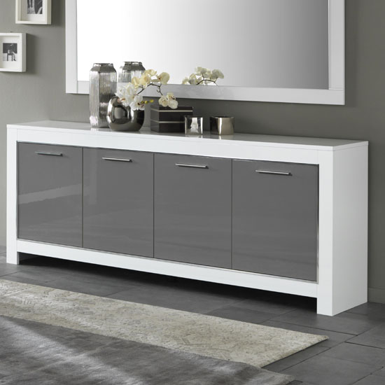 Lorenz Large Sideboard In White And Grey High Gloss With 4 Doors