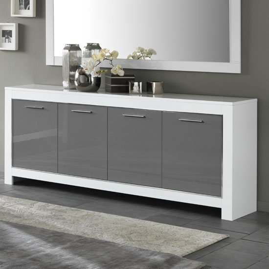 Lorenz Large Sideboard In White And Grey High Gloss With 4 Doors_1