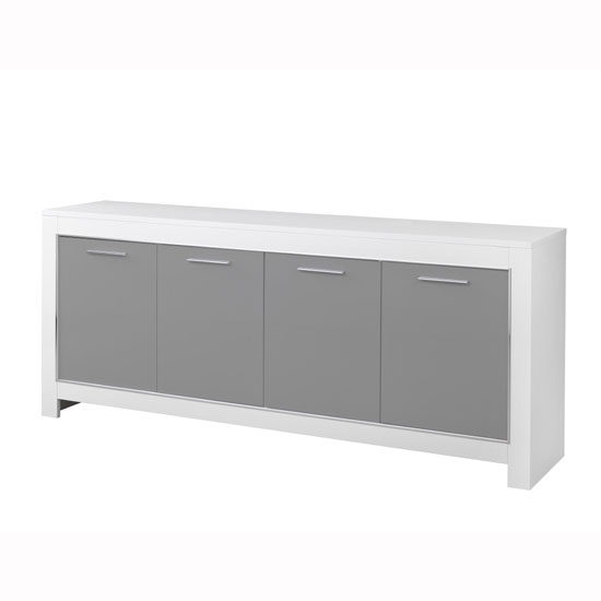 Lorenz Large Sideboard In White And Grey High Gloss With 4 Doors_2
