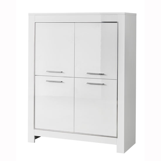 Lorenz Modern Bar Unit In White High Gloss With 4 Doors_1
