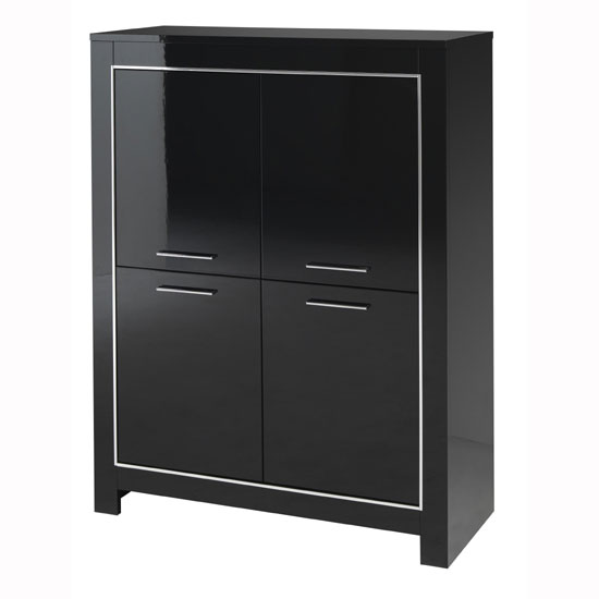 Lorenz Modern Bar Unit In Black High Gloss With 4 Doors_2