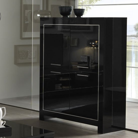 Lorenz Modern Bar Unit In Black High Gloss With 4 Doors_1