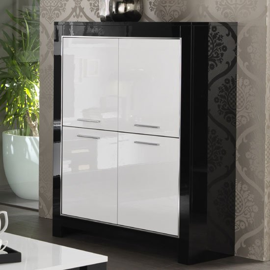 Lorenz Bar Unit In Black And White High Gloss With 4 Doors