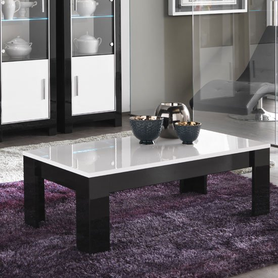 Lorenz Coffee Table Rectangular In Black And White High Gloss